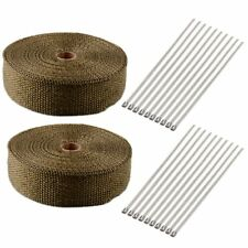 "High Quality 2 Roll 2"" Titanium 50FT Exhaust Header Fiberglass Heat Wrap Tape"