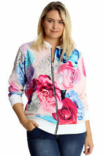 Womens Plus Size Jacket Bomber Ladies Floral Print Ribbed Coat Nouvelle Cream 22-24