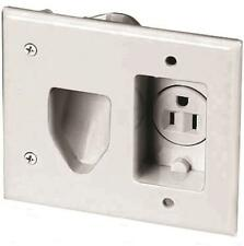 Eaton 35Mrw-Sp-L Recessed Multimedia Cable Wall Plate with Single Receptacle, Wh