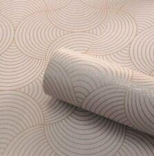 Art Deco Geometric Circle Blush Pink Rose Gold Metallic Textured Wallpaper 9003