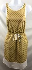 Tobi Summer Dress Womens Size Small Tan White & Blue Flower Pattern Sleeveless