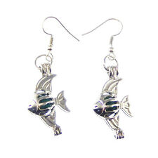 Earring Hook Crafts Jewelry 1 Pair Handmade Fashion Hollow Fish Locket Lava Bead