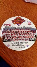 MLB ATLANTA BRAVES 1996 NAT. LEAGUE CHAMPS 6 INCH BUTTON PIN GREAT CONDITION