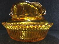 Antique McKee Glass Rabbit Covered Dish - Amber Glass - Rare, Mint, Fast Ship