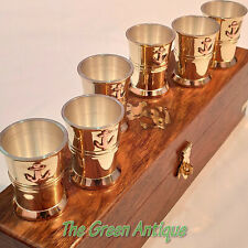 Antique Brass Set of 6 Shot Glass Wooden Box Collectible Gift