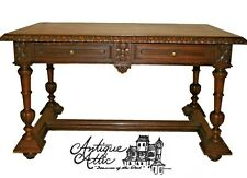 Antique French Walnut Partners Desk Bureauplat Library Table Sofa Henri Ii