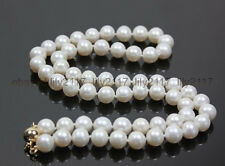 """Culutred Pearl Necklace 18"""" 14K Pretty 9-10mm Aaa+ White Akoya"""