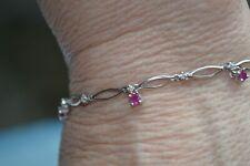 10K White Gold Ruby and Diamond Unique Dangle Design Bracelet