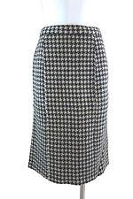 Gorgeous Black White Wool Blend Plaid Straight Pencil Skirt Size M