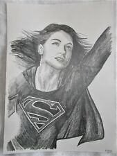 A4 Art Graphite Pencil Sketch Drawing Melissa Benoist as Supergirl Poster b