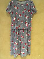 Vintage 80s Women's Dress Peplum Ruffle Secretary Floral Rose Bud Blue Red White