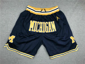 Michigan Wolverines Men's with Pockets Basketball Shorts Navy blue Size: S-XXL