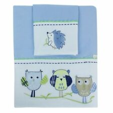 BUBBA BLUE BOY BABY OWL COT SHEET SET, 3 MUSLIN SWADDLES & 2 STRETCH SWADDLES