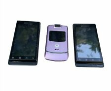 Lot of 3 Motorola Cell Phones | 2 Milestone & 1 Razr Pink | Untested for Parts