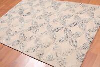 """4'8"""" x 6'8"""" Handmade High Low Pile Wool Loop & Cut Area rug Contemporary Beige"""