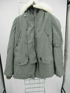 H1987 VTG USA ARMY Flying N-3B Could Weather Fur Hood Military Parka Jacket M