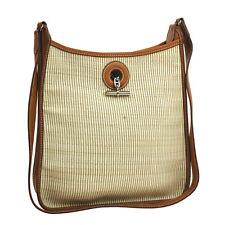 Auth HERMES Vespa PM Shoulder Bag Beige Brown Crinoline France Vintage V06989