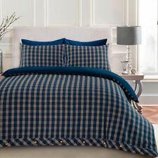 180gsm Flannelette Check Plaid Tartan Single Double King Quilt Cover Bedding Set