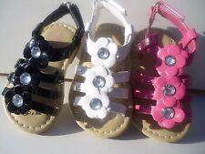New Summer Sandals For Toddler Girls. Black, White & Fuschia. Many Sizes.