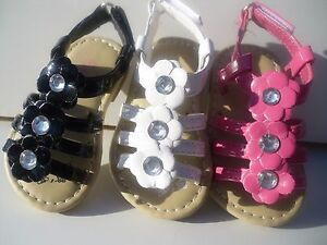New Summer Sandals For Toddler Girls. Black, White & Fuschia. Many Sizes.