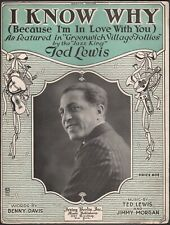 TED LEWIS, JAZZ KING Broadway song GREENWICH VILLAGE FOLLIES Benny Davis 1919