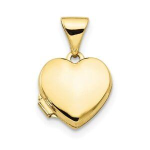 Real 10K Yellow Gold Plain Heart Locket charm pendant for Women