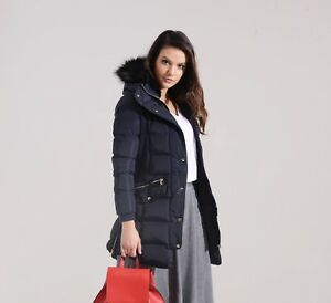 Charcoal Fashion Women's Navy Quilted Winter Puffa Coat (018W17 GLANCY COAT)