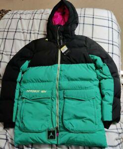 Mens Nike Air Jordan Down Fill Parka Jacket CK6661-011 Black Neptune Green Pink