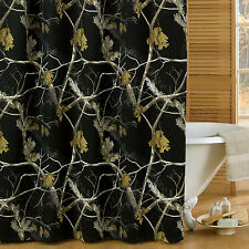 """Realtree AP Black Fabric Shower Curtain Camouflage 72"""" x 72"""" Outdoor Nature"""