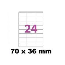 5X Feuille Autocollante Papier 120 étiquettes 70x36mm soit 24 par Planche