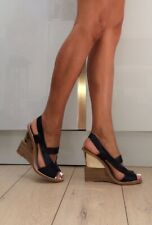 Zara Black Leather Strappy Wedge gold Heel Sandals 7 40