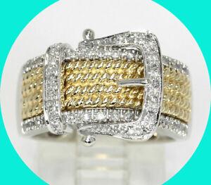 .20CT VS diamond belt buckle ring 14K TT gold 7.8 GM sz 7