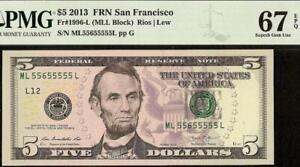 GEM $5 DOLLAR BILL 55655555 NEAR SOLID SERIAL NUMBER NOTE PAPER MONEY PMG 67 EPQ