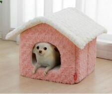 New Princess Pet Dog Cat House Beds Kennel Folded indoor House Pink/Brown M