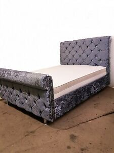 NEW MODERN SLEIGH BED ELEGANT DESIGN QUALITY FABRIC FREE & FAST DELIVERY