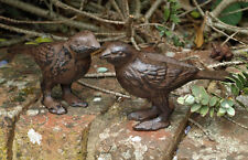 Pair Cast Iron Birds Garden Ornament Statue Metal Standing 7.5cm Brown New