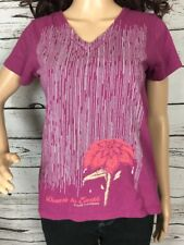 Mission Playground Purple V Neck T-Shirt Small Floral Organic Cotton Tee Casual