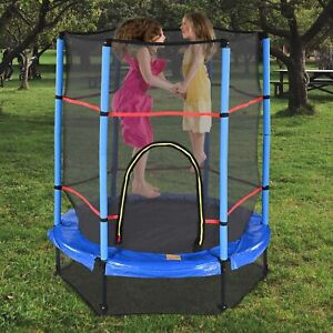 """55"""" Mini Round Trampoline for Children Exercise Enclosure Net Safety Mat Home"""