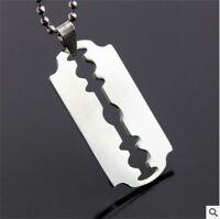 Rasierklinge Herren Silber 316L Edelstahl Titan Anhänger Halskette Gut