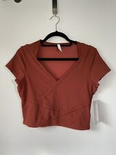 Athleta It's A Wrap Tee Size M In Russet Brown $54
