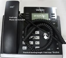 Pack/Lot of 10 Yealink Handset Cord SIP T-Series Phone Flat Black Charcoal 12 Ft