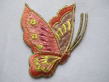 """#3968 3-1/4"""" Pink/Golden Butterfly Embroidery Iron On Applique Patch"""