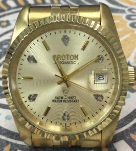 Handsome Rare Working Gentleman's CROTON AUTOMATIC w Date Wrist Watch BH161