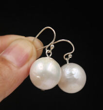 Natural 14mm White Unusual Near Round Drip Baroque Pearl Earring