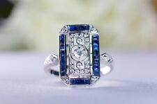 Ring in Vintage Art Deco Design Created Blue Sapphire And Sterling Silver