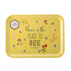 English Tableware Co. Bee Happy Large Tray, Place To Bee Serving Tea Tray Floral