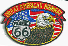 ROUTE 66 EAGLE/FLAG - GREAT AMERICAN HIGHWAY - IRON ON PATCH