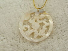 Pendant Necklace (A50) Goldtone Carved Shell