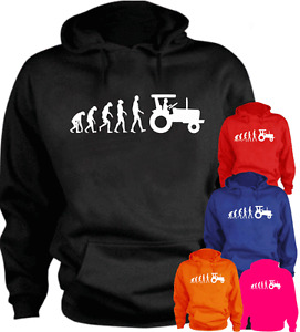 Ape Human Tractor Evolution Farmer New Funny Hoodie Gift Present