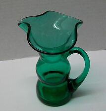 Shamrock Green Glass Pitcher Hand Blown Applied Handle Hourglass Shape Vintage